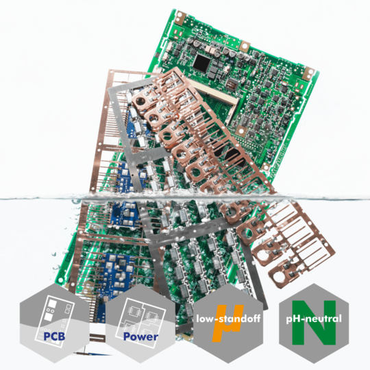 pH neutral defluxing agent for power modules, LEDs, leadframes, and discrete devices